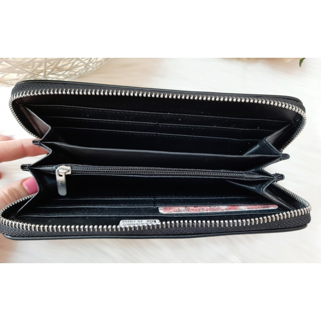 Pöttyös mintás női pénztárca fekete