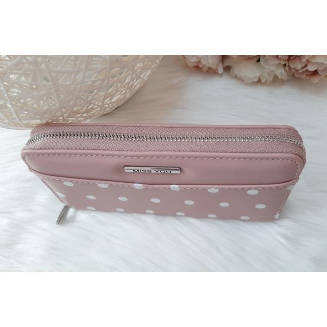Pöttyös mintás női pénztárca rózsaszín