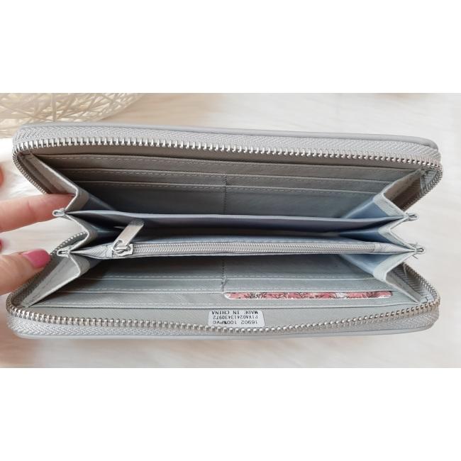 Pöttyös mintás női pénztárca szürke