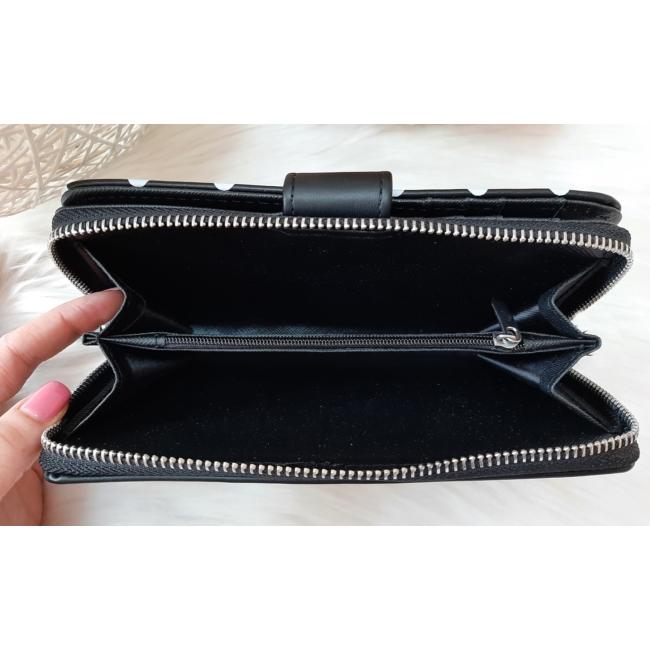 Pöttyös mintás vastag nagy méretű női pénztárca fekete