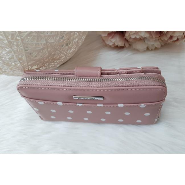 Pöttyös mintás vastag nagy méretű pénztárca rózsaszín