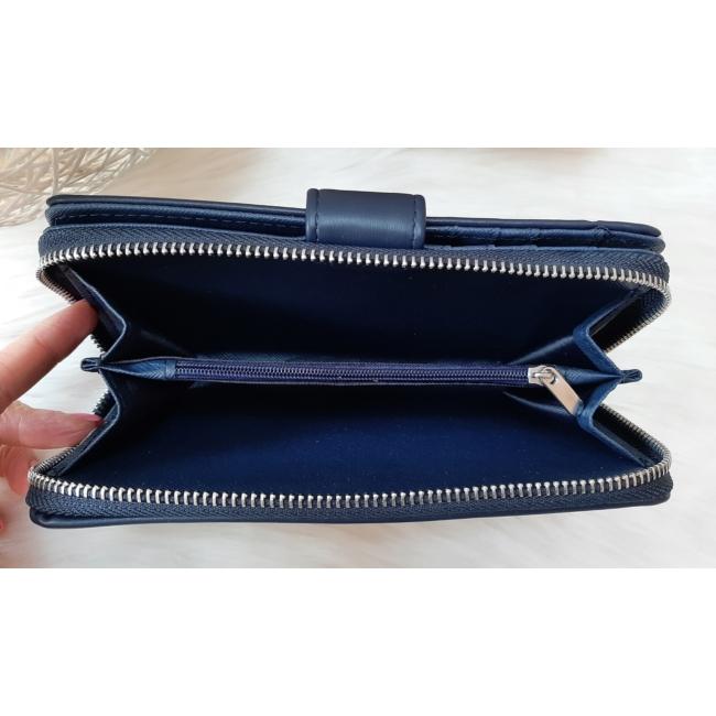Pöttyös mintás vastag nagy méretű pénztárca sötétkék