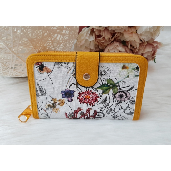 Virág mintás elegáns női pénztárca sárga