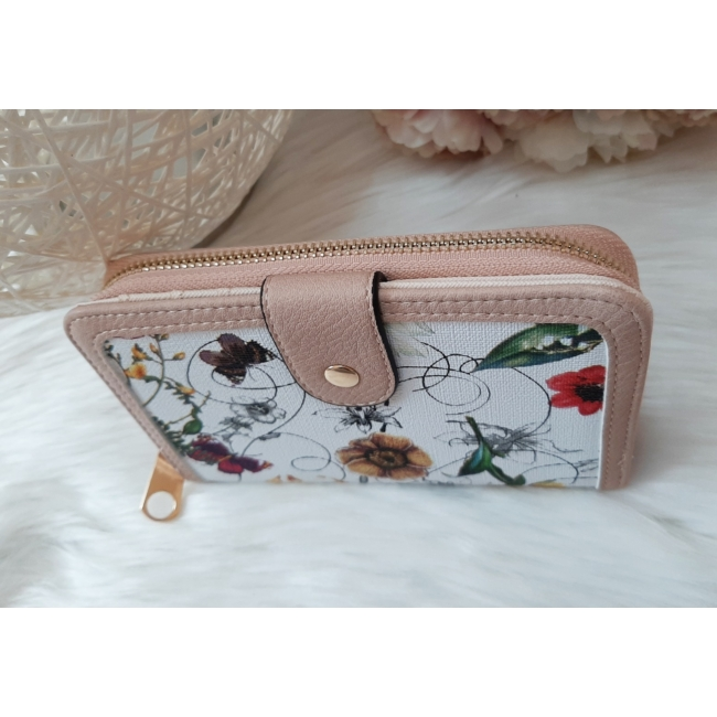 Virág mintás elegáns női pénztárca rózsaszín