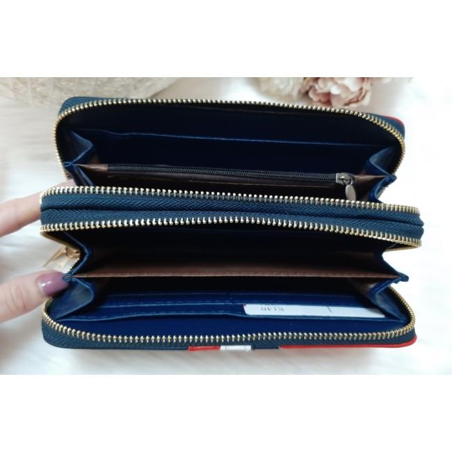 Kék fehér piros csíkos vastag dupla cipzáros női pénztárca