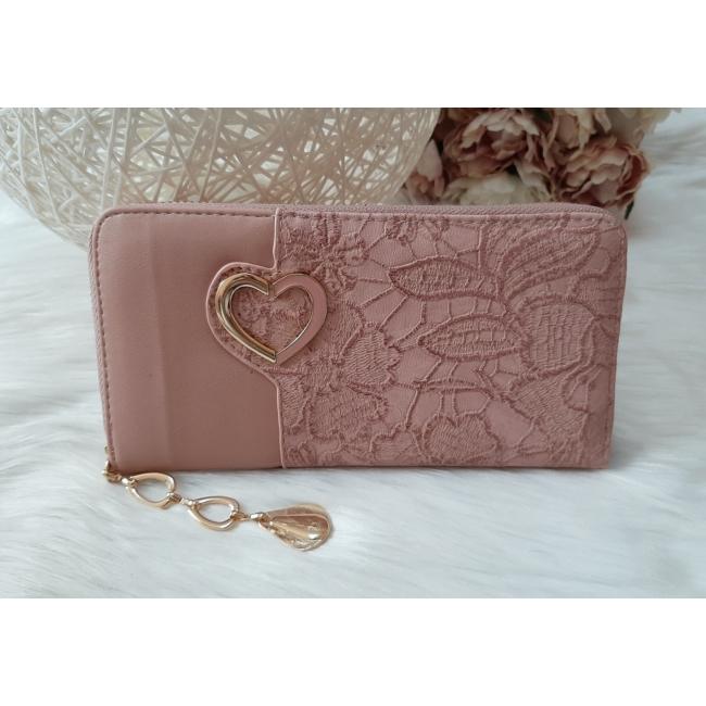 Csipke virág mintás női pénztárca szivecske dísszel rózsaszín