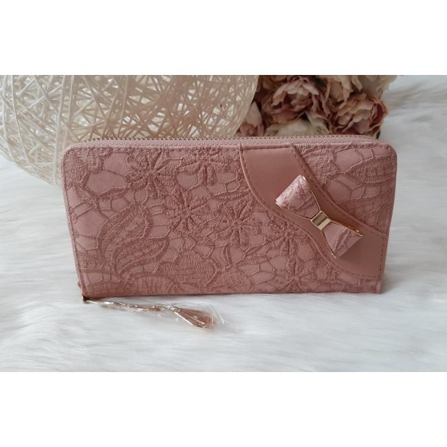Masni díszes csipke virág mintás női pénztárca rózsaszín