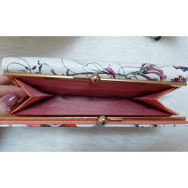 Virág mintás női pénztárca rózsaszín
