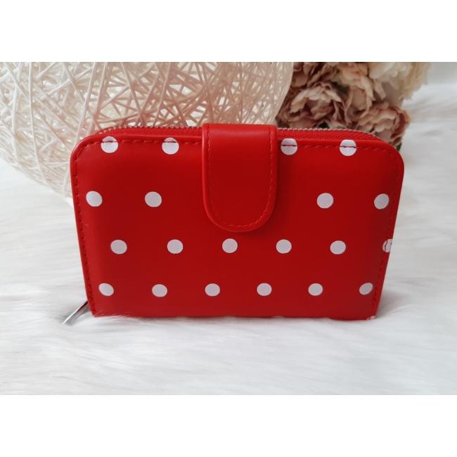 Pöttyös mintás női pénztárca piros