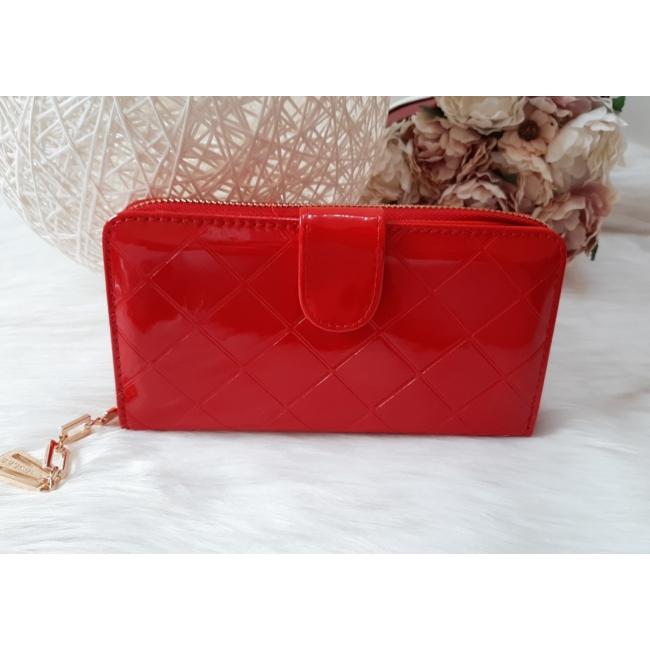 Négyzet mintás vastag nagy méretű női pénztárca lakk piros