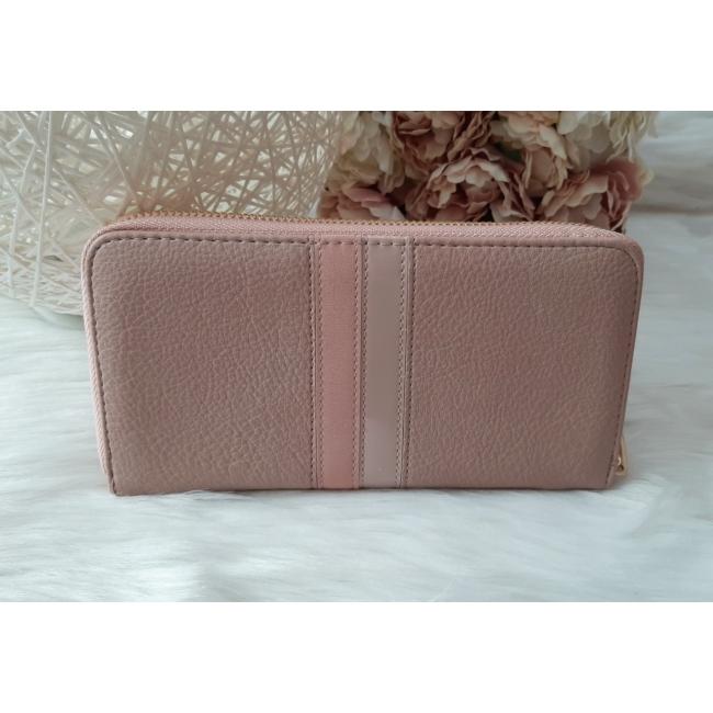 Csíkos mintás egyszínű női pénztárca rózsaszín