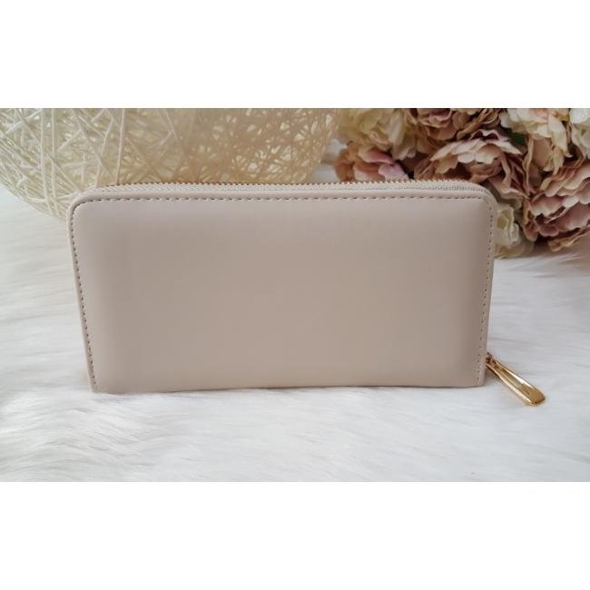 Egyszínű elegáns női pénztárca vajszínű