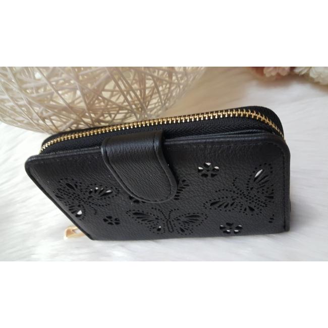 Nyomott pillangó mintás elegáns női pénztárca fekete