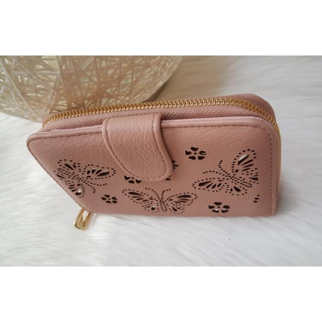 Nyomott pillangó mintás elegáns női pénztárca rózsaszín
