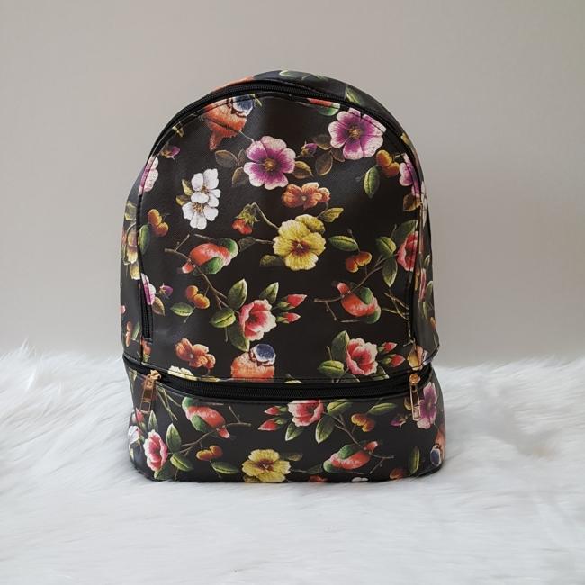 Virág mintás női hátitáska fekete