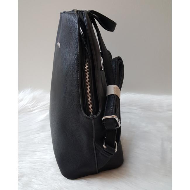 Silvia Rosa merev falú elegáns hátitáska fekete