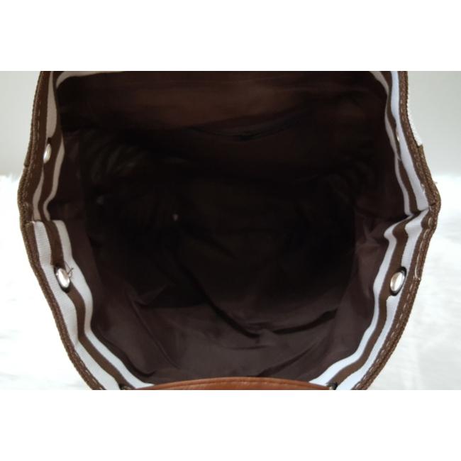 Csíkos mintás szövet hátitáska barna fehér