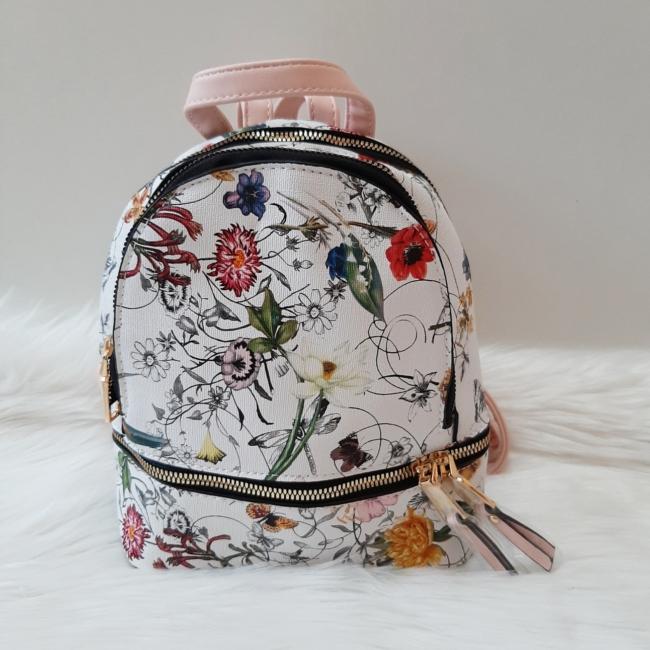 Kis méretű virág mintás elegáns hátitáska rózsaszín