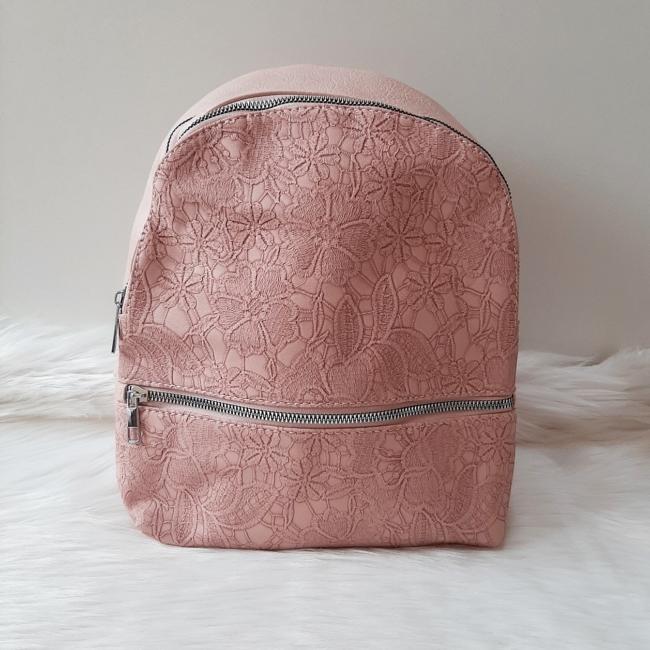 Csipke virág mintás elegáns női hátitáska rózsaszín