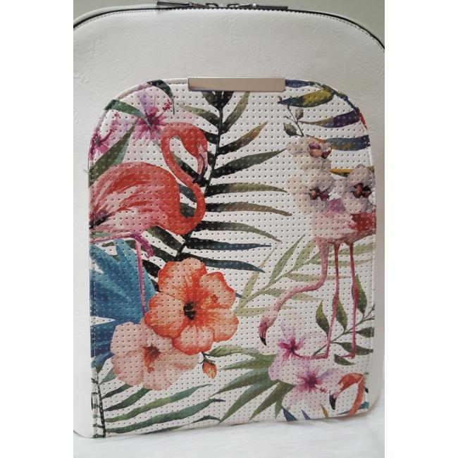 Flamingó virág mintás elegáns női hátitáska fehér