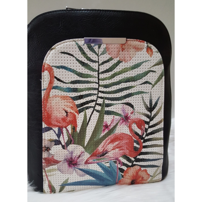 Flamingó virág mintás elegáns női hátitáska fekete