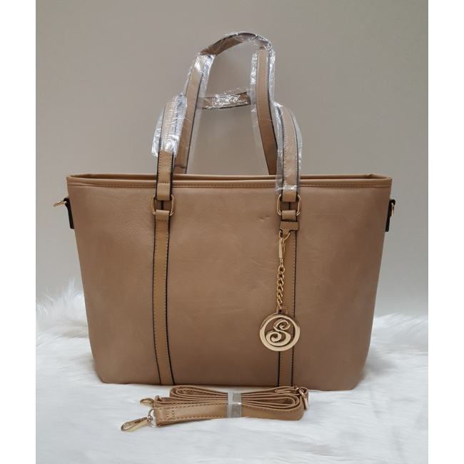 Női táska levehető medál dísszel barna