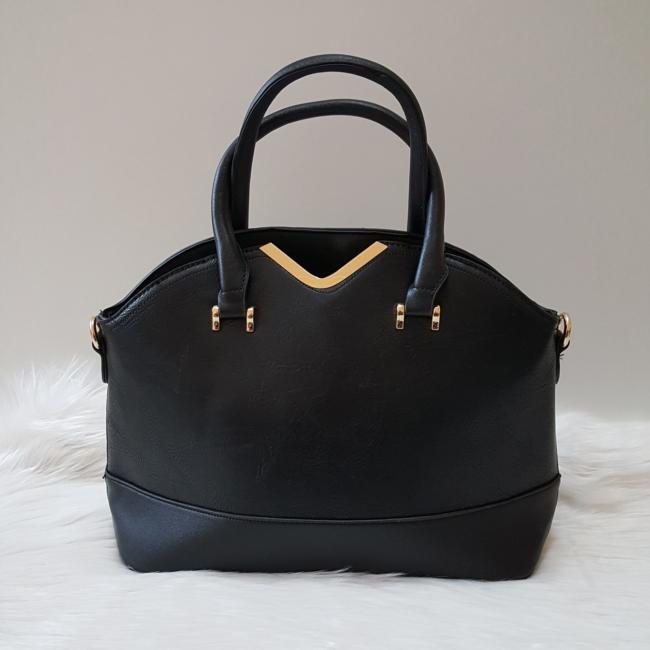 V díszes merev falú elegáns női táska fekete
