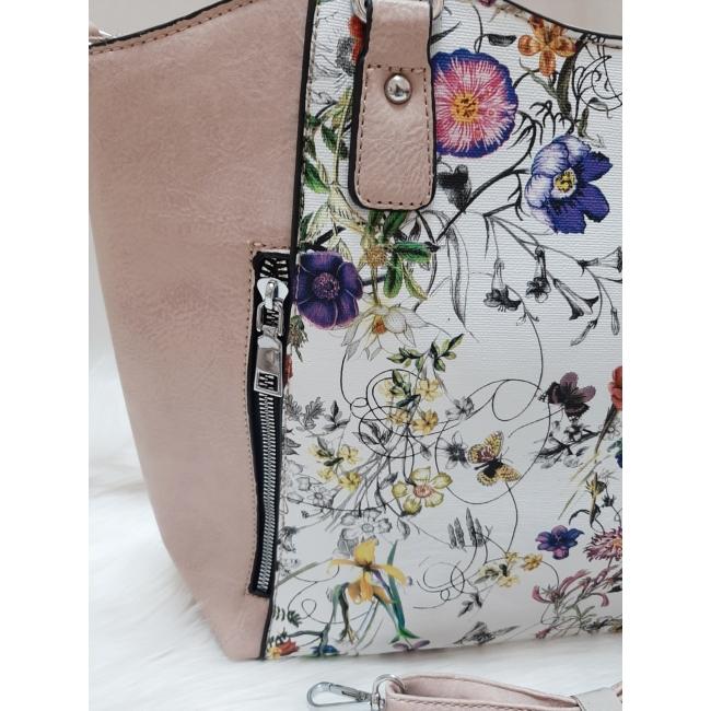 Virág mintás női válltáska rózsaszín