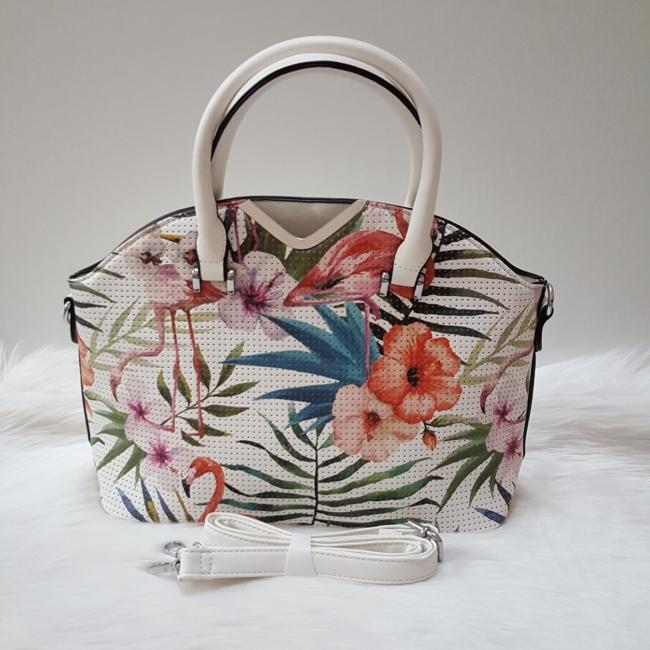 Flamingó virág mintás elegáns női táska fehér
