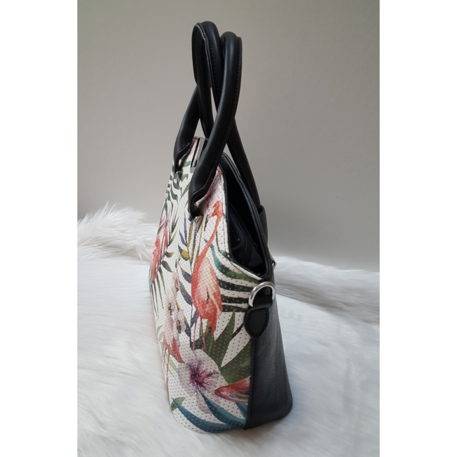 Flamingó virág mintás elegáns női táska fekete