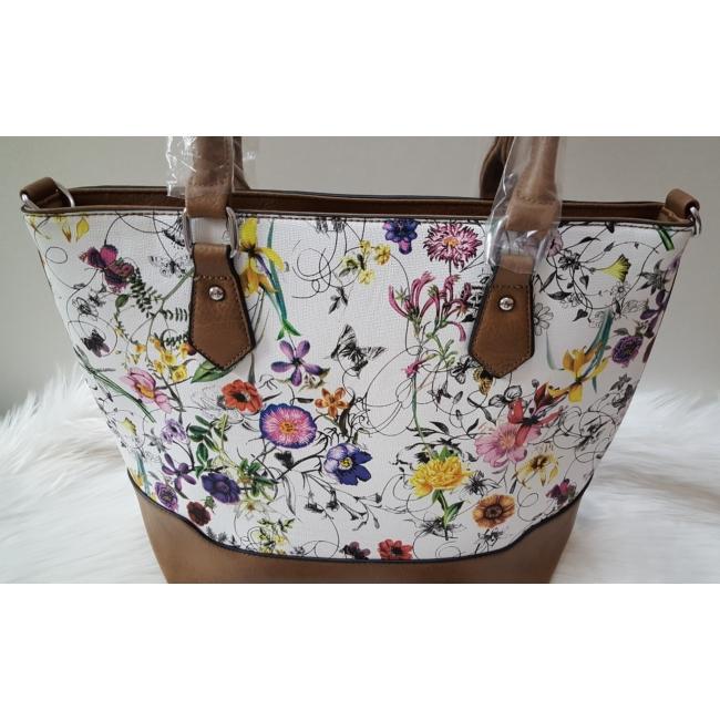 Brown flower táska pénztárca szett