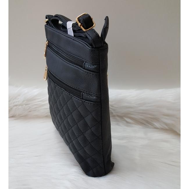 Kis méretű varrott rombusz mintás női oldaltáska fekete