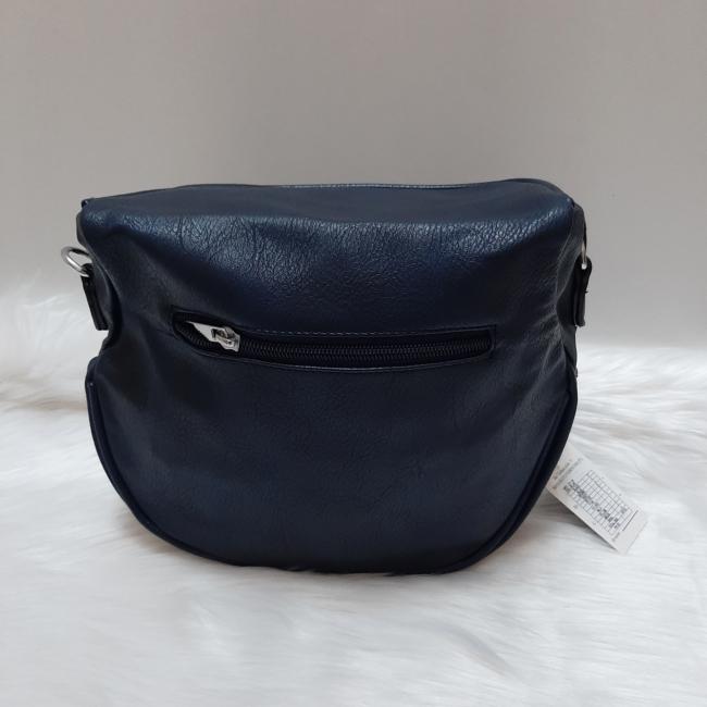 Keresztpántos női táska felirattal sötétkék