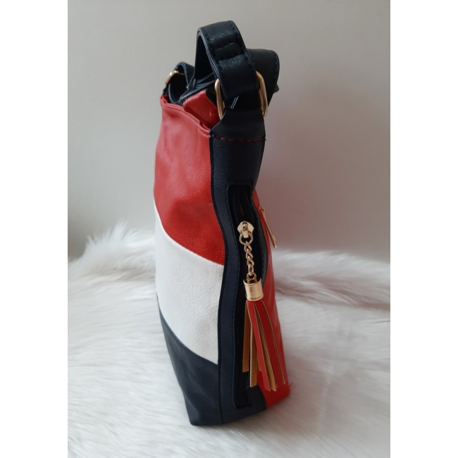 Kék fehér piros csíkos női oldaltáska
