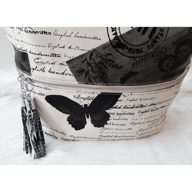 Pillangó mintás bojt díszes oldaltáska fekete